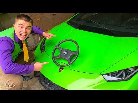 Red Man Tore Off Steering Wheel Car VS Mr. Joe on Lamborghini Huracan without Steering Wheel 13+