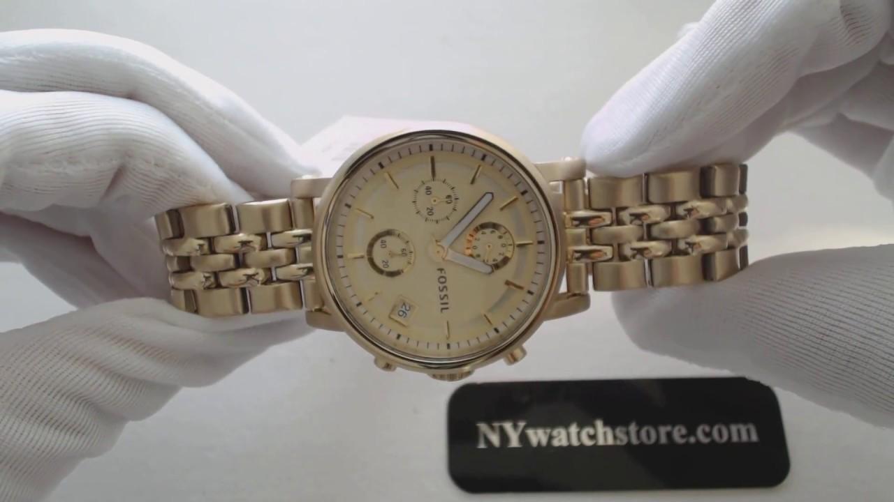 Womens Fossil Dress Gold Tone Chronograph Watch Es2197 Youtube Es3380 Original Boyfriend Rose