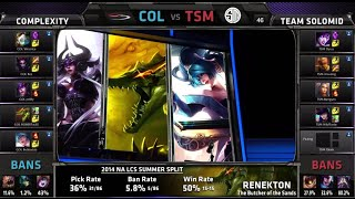 compLexity vs TSM | S4 NA LCS Summer split 2014 Week 9 Day 2 | COL vs TSM W9D2 G2 Full Game HD