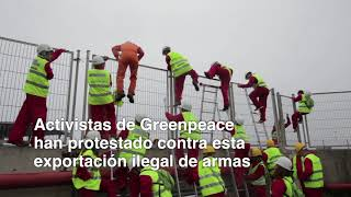 ACCIÓN en vivo/ Protestamos frente a la carga de armas en el puerto de Bilbao