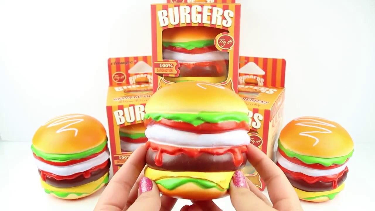 Jumbo Burger Squishy : Jumbo Hamburger Squishy - YouTube
