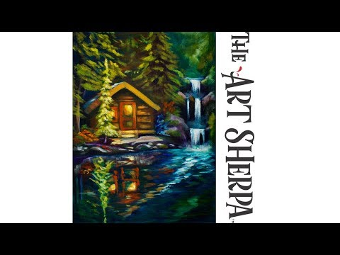 How to paint a Cabin by a Lake waterfall and reflection in Acrylic Paint