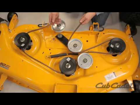 how to replace the deck belt on a cub cadet zero turn lawn mower rh youtube com cub cadet lawn mower parts diagrams cub cadet 2166 deck belt diagram