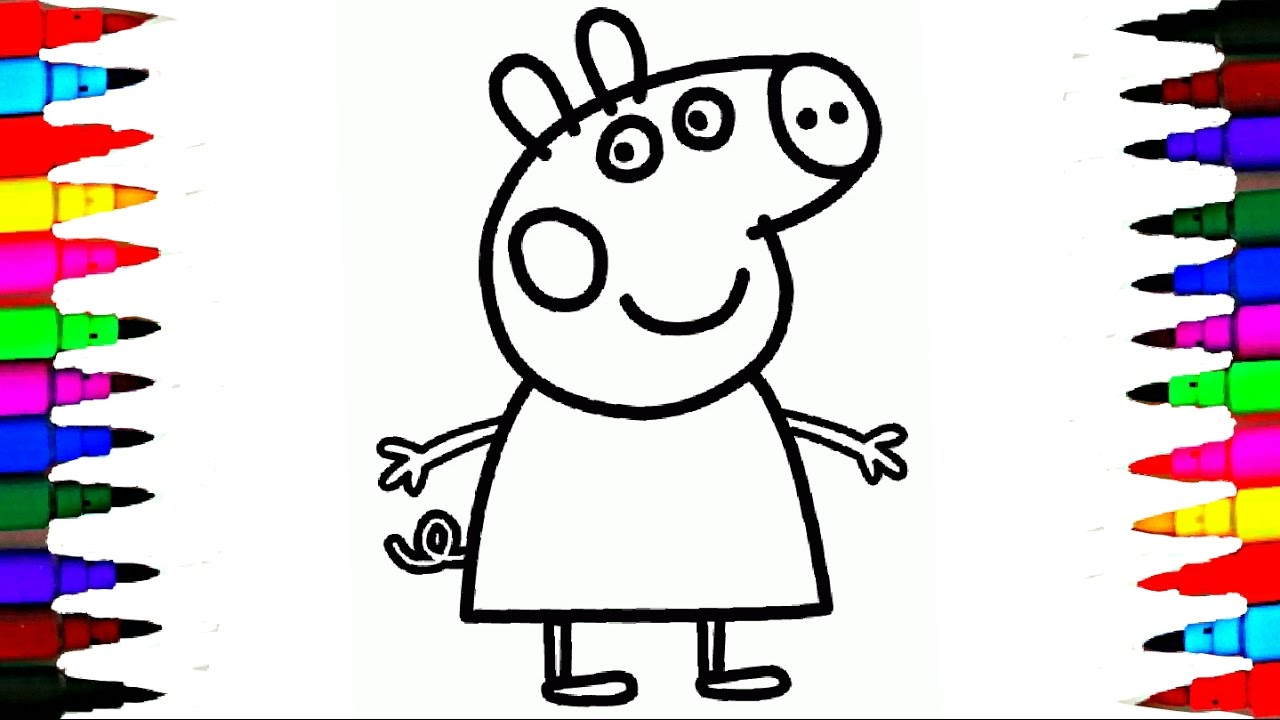coloring peppa pig drawing pages l coloring book videos for
