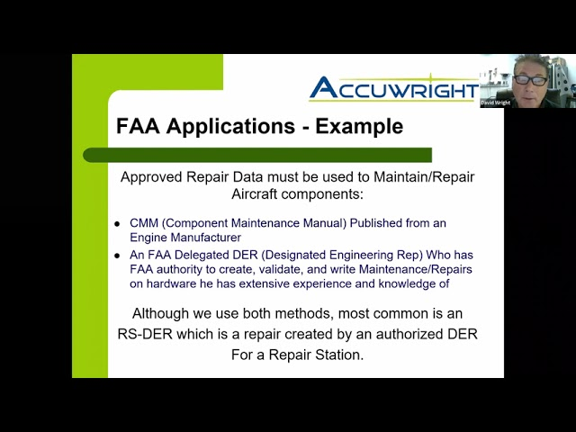 5. David Wright, Accuwright, AR: FAA & Accepted Manual Repairs Using LP Cold Spray