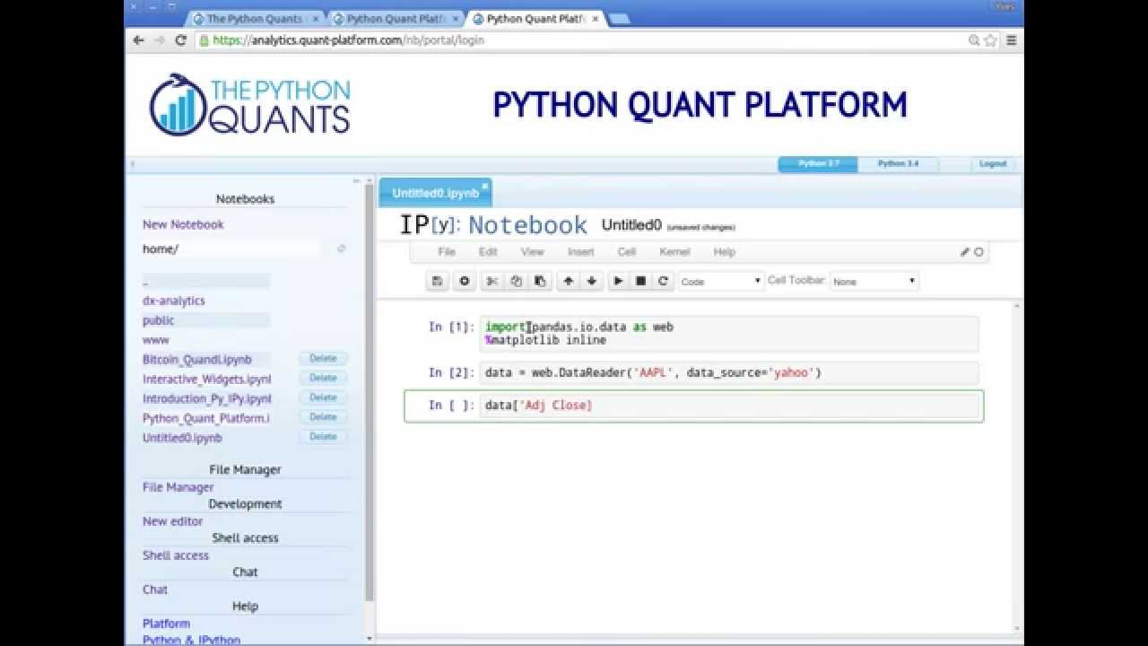 Financial Analytics & Applications on the Python Quant Platform