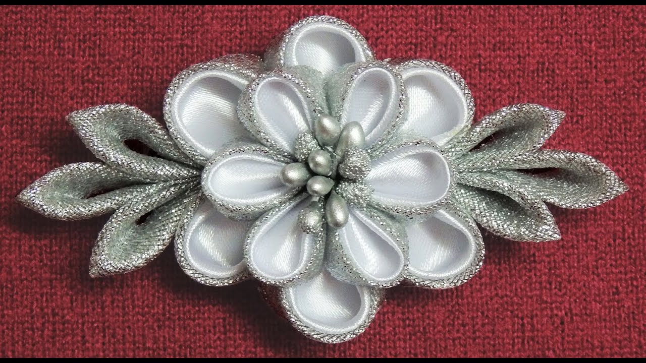 DIY Kanzashi Flower HairclipWinter Inspired Kanzashi