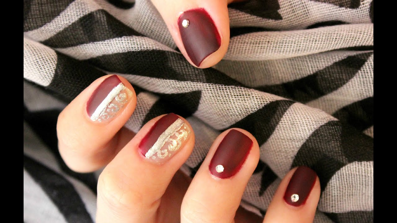 Silver Burgundy Nails - YouTube