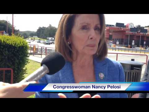 Nancy Pelosi discusses Golden Gate Bridge suicide barrier project