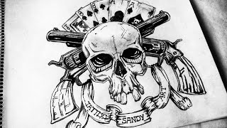 How to Draw Skull with Guns & Cards