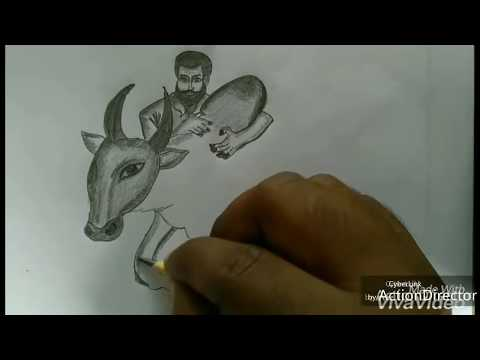 Jallikattu Jallikattu Pencil Art How To Draw Jallikattu Dheenu Dx Youtube