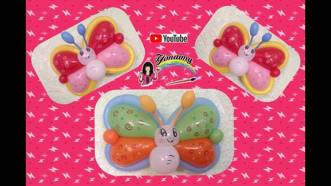 mariposa con globos de corazon figuras con globos