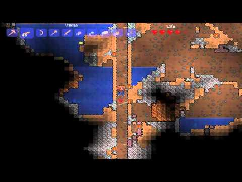my Terraria let's play part 1.3.1 in search of iron ore