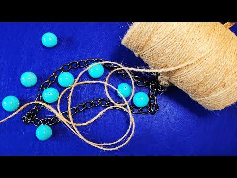 Оригинальное украшение из бусин и веревки. The Original Decoration Of The Rope And Beads.