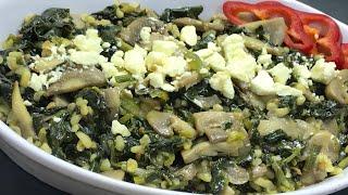 Mantarlı - Bulgurlu ıspanak kavurması tarifi / Pratik yemek tarifi