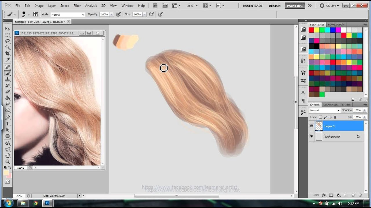 easy hair tutorial digital painting in photoshop - YouTube