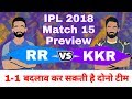 IPL 2018 : Match 15 | RR vs KKR - Match Preview and Playing 11 Prediction