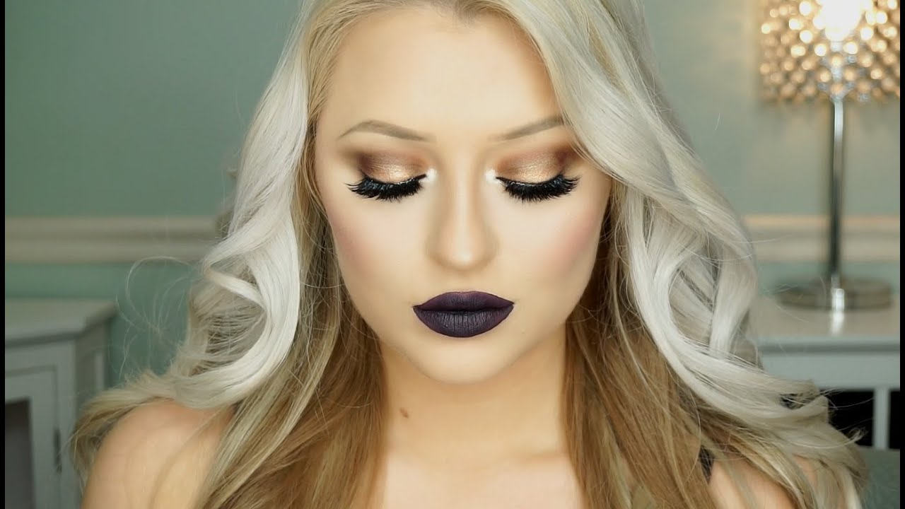 Bronze Eyes U0026 Dark Purple Lips Makeup Tutorial   Doovi