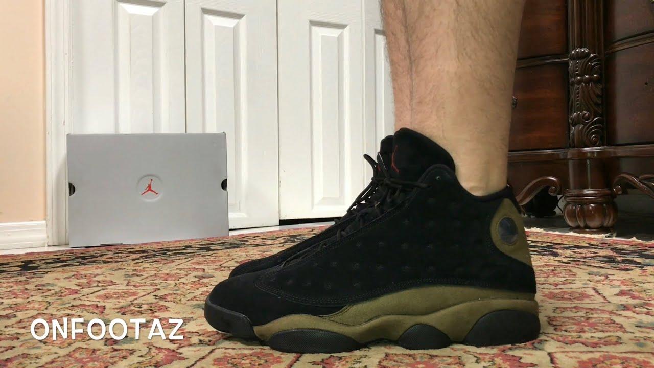 b6d235402da Air Jordan 13 XIII Olive On Foot - YouTube