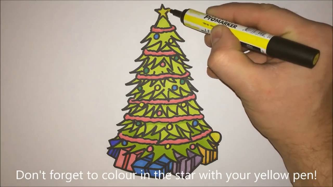 how to draw a christmas tree with presents step by step youtube