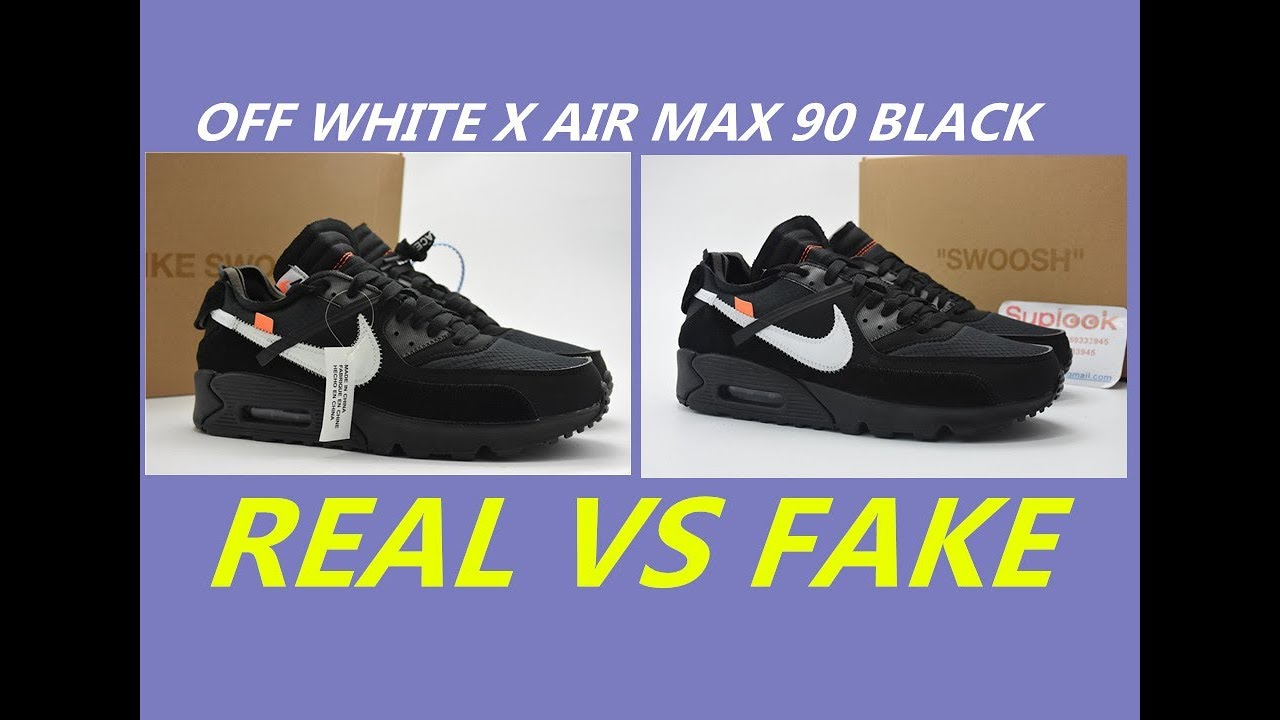 f2159bd7a7e REAL VS FAKE Off White x Air Max 90 Black Comparison