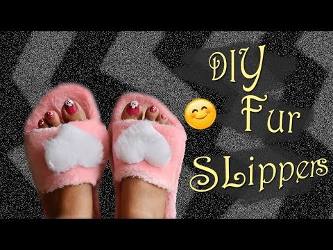 DIY Fur Slippers from cardboard | Mom Artistry