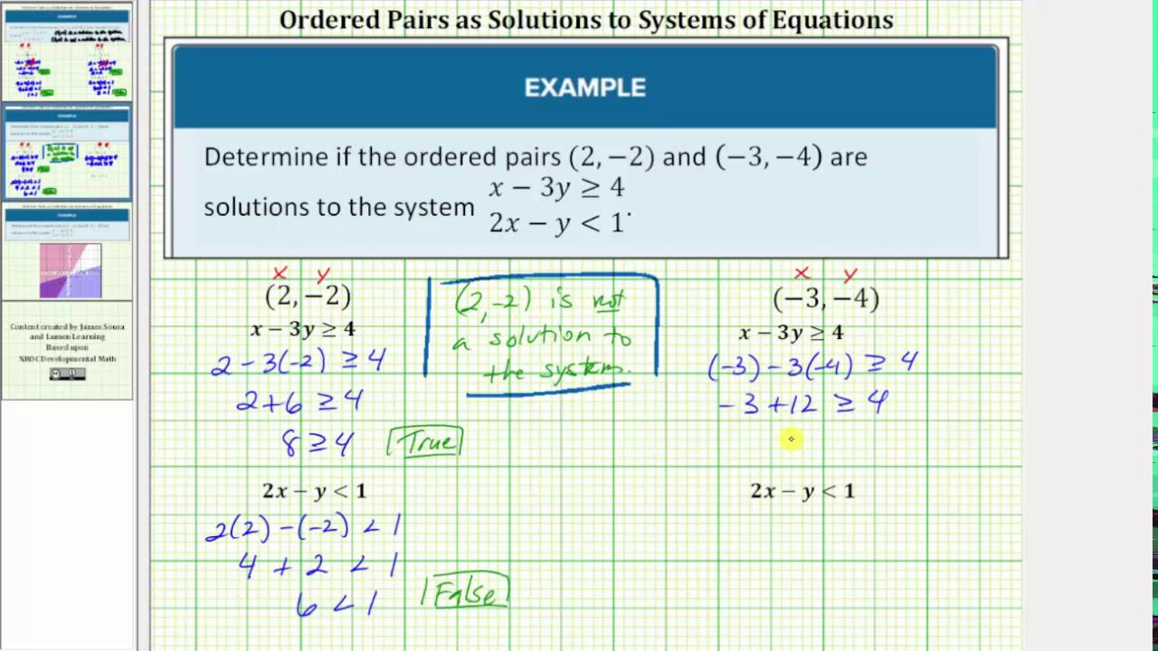 worksheet Ordered Pairs Pictures determine if an ordered pair is a solution to system of linear inequalities