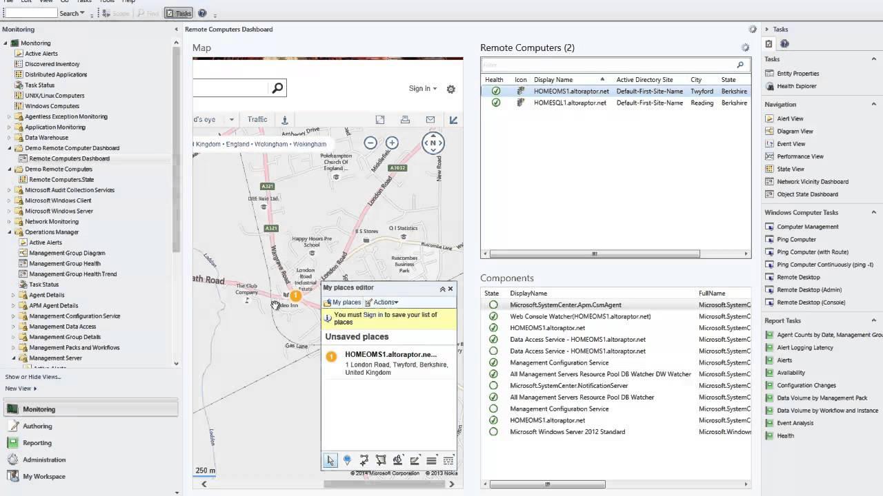 SCOM 2012 PowerShell Web Widget Dashboard calling Bing Maps & Google Geocode