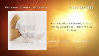 Anti Embolisim Knee-High 10-20 mmhg Closed Toe - Black ** Si