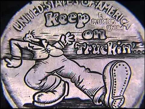Hand Engraved 'Keep On Truckin' R.Crumb cartoon by Shaun Hughes Hobo Nickel