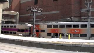 Railfanning Providence & Boston South Station W/Tripple Headed AEM-7 & MBTA Extra 2.21.15