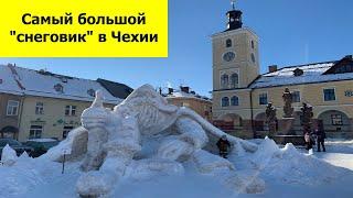 Самый большой снеговик в Чехии и горнолыжный курорт Шпиндлерув Млин