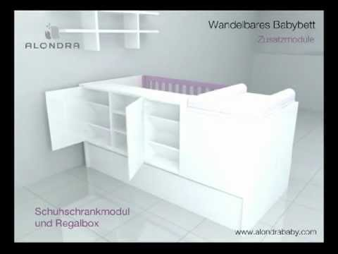 innovatives verwandelbares babybett alondra ref k401 k405 k406 k414 youtube. Black Bedroom Furniture Sets. Home Design Ideas