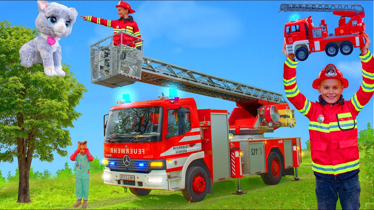 Kids Pretend Play with Fire Truck | Learn to Help each other Stories with Toys