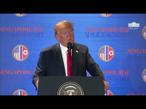 Emerald Robinson asks a question to Donald Trump regarding the future of the North Koreans following the Singapore Summit with Kim Jong-un and if he is considering opening the door to economic freedom