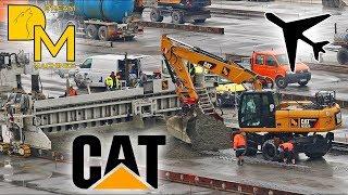 MEGA AIRPORT BAUSTELLE ✈ CATERPILLAR BAGGER BETON FERTIGER # FLUGHAFEN UMBAU