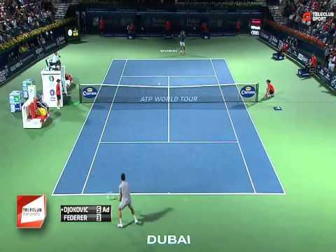 Genialer Ballwechsel von Novak Djokovic und Roger Federer ATP Dubai 28.02.2014