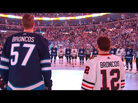 Jets, Blackhawks don 'Broncos' on jerseys in tribute to Humboldt