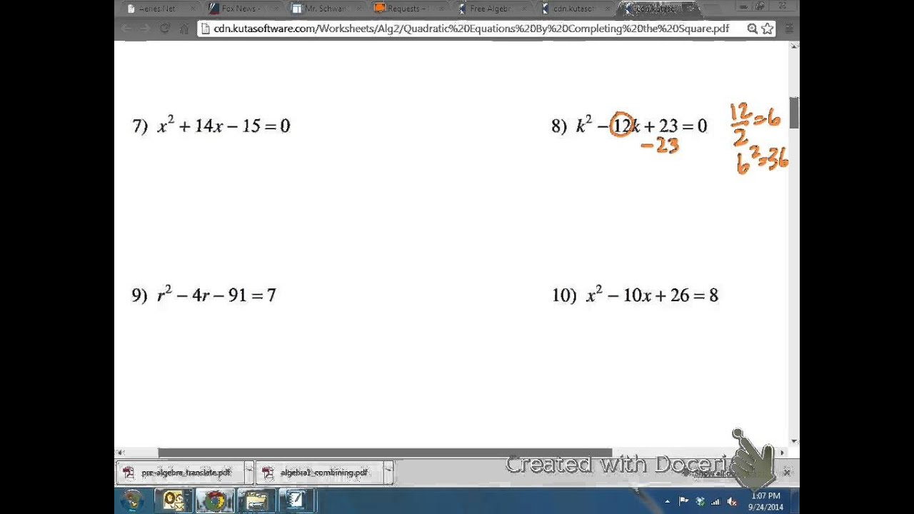 Common Core Math: Solving A Quadratic Equation Bypleting The Square