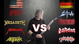American Big 4 VS German Big 4 (Guitar Riffs Battle)