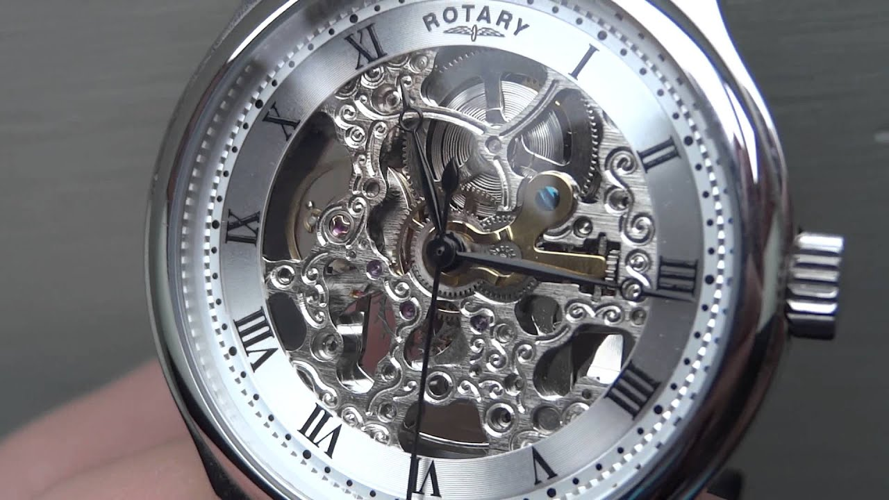 rotary automatic skeleton watch gs02518 06