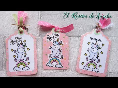 Scrapbooking-Tags de unicornios, coloreando sellos con rotuladores de alcohol