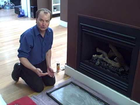 www.vangasfireplaces.com Vancouver Gas Fireplace expert Mat takes views through the five steps of effectively cleaning the glass frame of a gas fireplace.