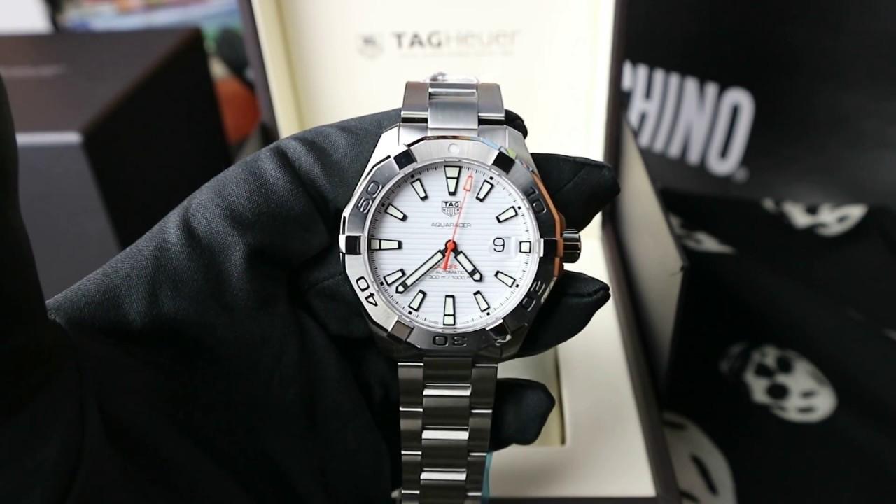 6258fbb0f660 TAG Heuer Aquaracer 43 mm White Dial - YouTube