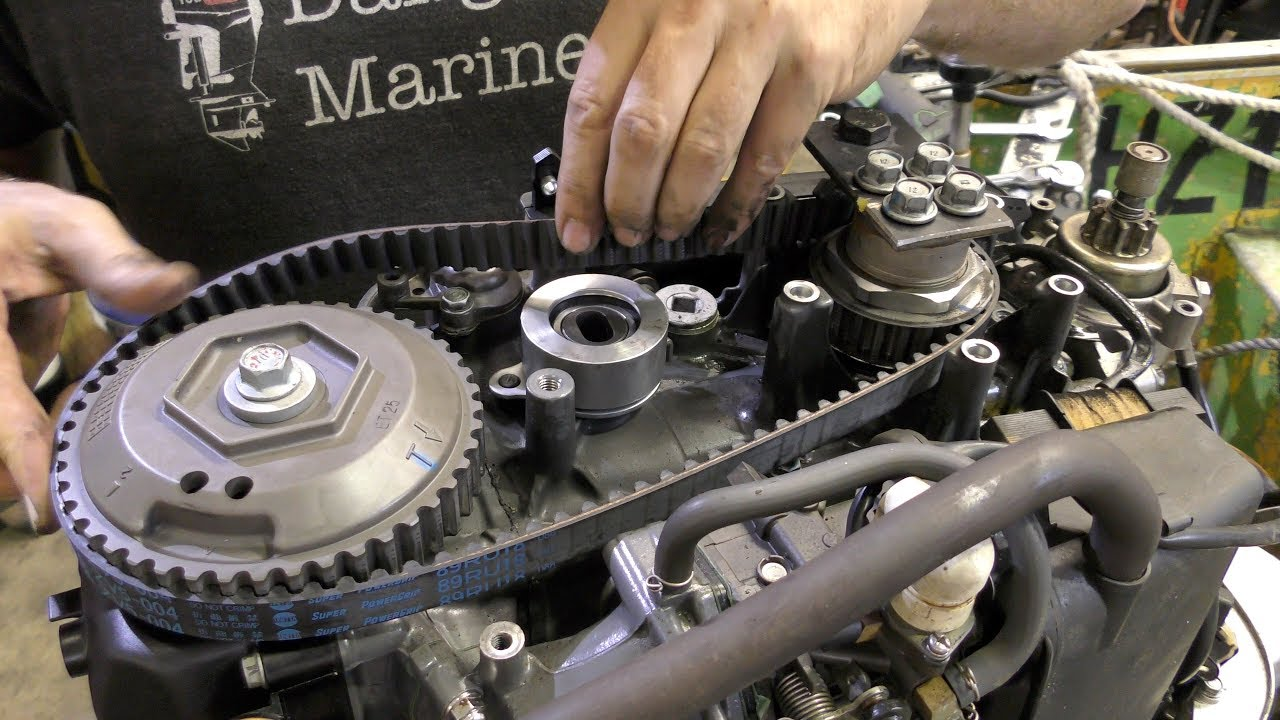 Outboard timing belt replacement - YouTube