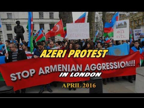 AZERI PROTEST AGAINST ARMENIAN AGGRESSION IN LONDON APR 2016 HD