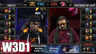 Fnatic vs Unicorns of Love | S5 EU LCS Spring 2015 Week 3 Day 1 | FNC vs UOL W3D1G2 VOD 60FPS