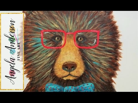 Hipster Grizzly Bear with Glasses Acrylic Painting | Impressionist Canvas for Beginners | LIVE