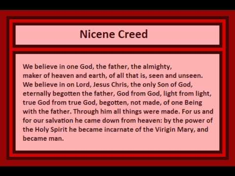 nicene creed assignment Unit 6, assignment 2 – the nicene creed now to the next creed but first a prayer: god, our helper and friend as we prepare for the feast of easter we pray that you will help us to remember why we celebrate easter and to be grateful for what jesus did for us and for whole humankind.