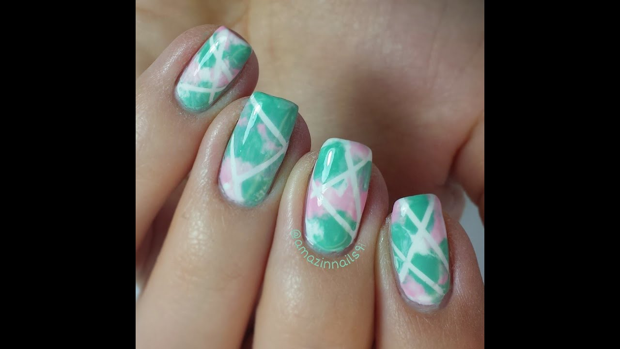 Nail Art Tutorial | Tiffany green and cute pink mélange ...